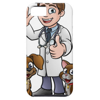 Vet with Pet Cat and Dog Cartoon Characters Case For The iPhone 5