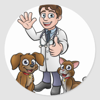 Vet with Pet Cat and Dog Cartoon Characters Classic Round Sticker