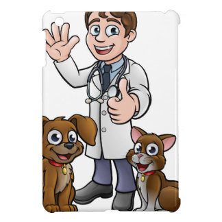 Vet with Pet Cat and Dog Cartoon Characters iPad Mini Case