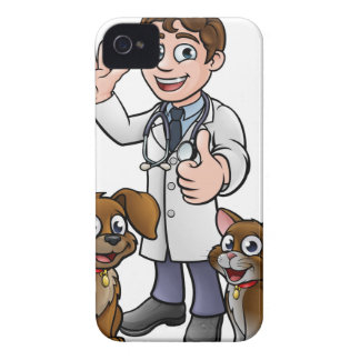 Vet with Pet Cat and Dog Cartoon Characters iPhone 4 Case