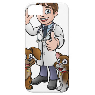 Vet with Pet Cat and Dog Cartoon Characters iPhone 5 Case