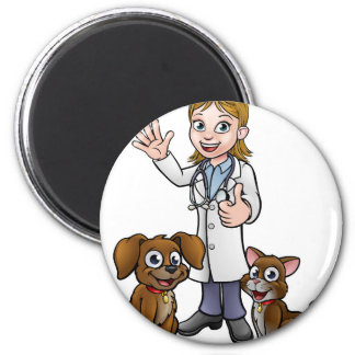 Vet with Pet Cat and Dog Cartoon Characters Magnet