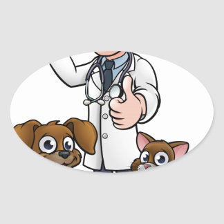 Vet with Pet Cat and Dog Cartoon Characters Oval Sticker