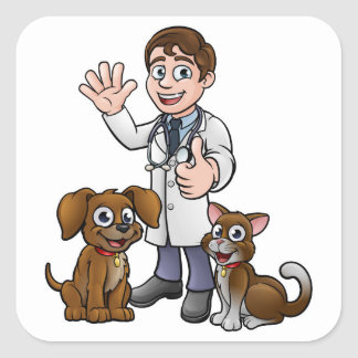 Vet with Pet Cat and Dog Cartoon Characters Square Sticker
