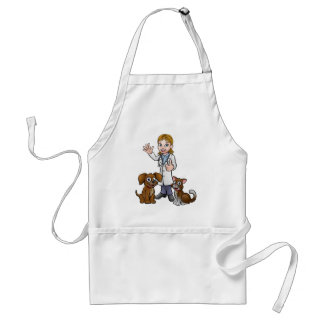 Vet with Pet Cat and Dog Cartoon Characters Standard Apron
