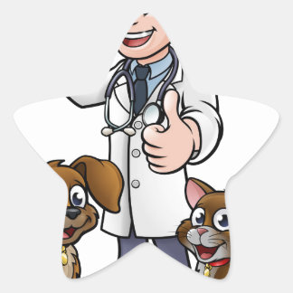 Vet with Pet Cat and Dog Cartoon Characters Star Sticker