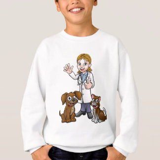 Vet with Pet Cat and Dog Cartoon Characters Sweatshirt