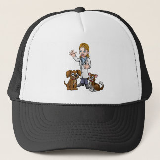 Vet with Pet Cat and Dog Cartoon Characters Trucker Hat