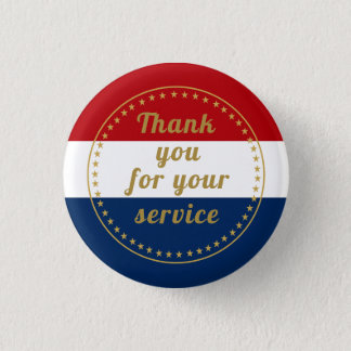 Veteran Active Duty Military Police Fire Thank You 1 Inch Round Button