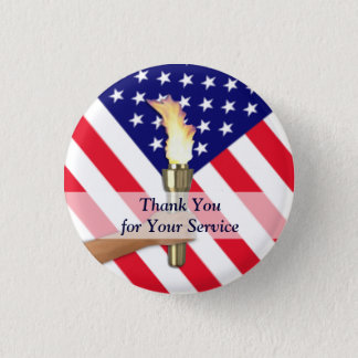 Veteran and Active Duty Military Thank You 1 Inch Round Button