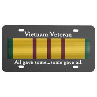 Vétéran du Vietnam - plaque minéralogique Plaque D'immatriculation