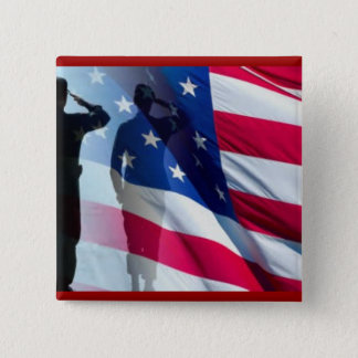 Veteran Salutes the Flag Patriotic 2 Inch Square Button