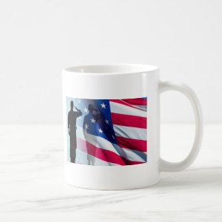 Veteran  Salutes the Flag Patriotic Classic White Coffee Mug