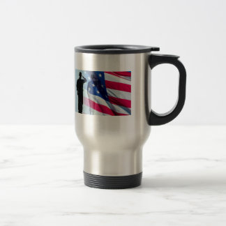 Veteran Salutes the Flag Patriotic Military 15 Oz Stainless Steel Travel Mug