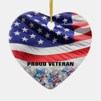 Veteran Soldier Pride USA Flag | Gift for Military Ceramic Heart Ornament