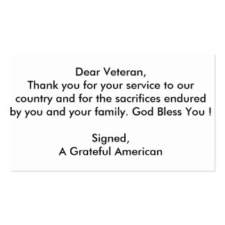 Veteran Thank You cards Pack Of Standard Business Cards