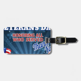 Veterans Day American Flag Background Luggage Tag