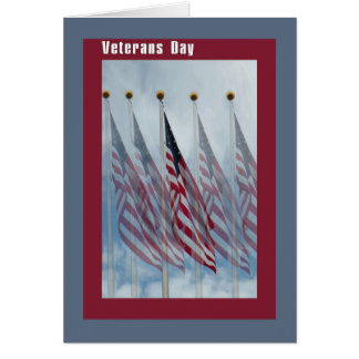 Veterans Day Card with Five Flags