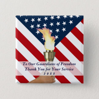 Veterans Day or Memorial Day Military Thank You 2 Inch Square Button