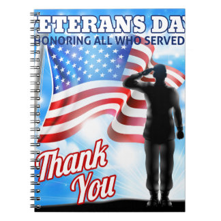Veterans Day Silhouette Soldier Saluting American Notebook