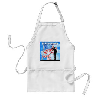 Veterans Day Silhouette Soldier Saluting American Standard Apron