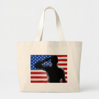 Veterans Day Silhouette Soldier Saluting Large Tote Bag