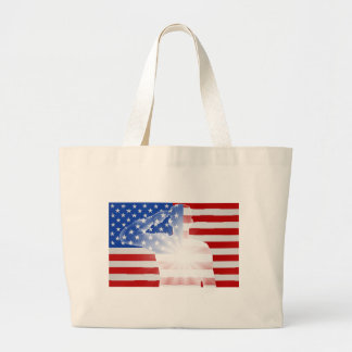 Veterans Day Soldier Saluting Large Tote Bag