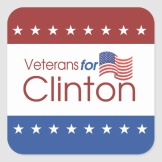 Veterans for Clinton Square Glossy Stickers (6)