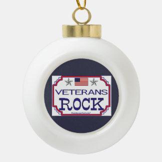 Veterans Rock Ceramic Ball Ornament