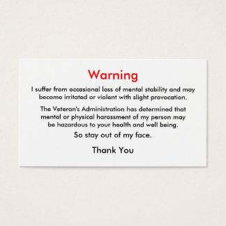 Veteran's Warning Calling Card