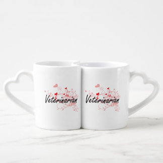 Veterinarian Artistic Job Design with Hearts Coffee Mug Set