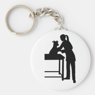 Veterinarian Basic Round Button Keychain