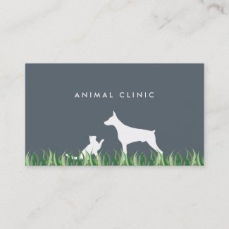 Veterinarian Cat & Dog grass ı business card