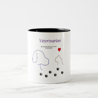 Veterinarian-Paw prints on my heart Two-Tone Coffee Mug
