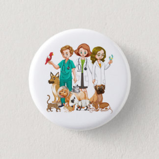 Veterinarian People Background 1 Inch Round Button