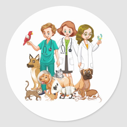 Veterinarian People Background Classic Round Sticker