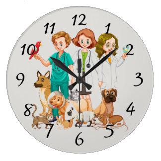 Veterinarian People Background Large Clock