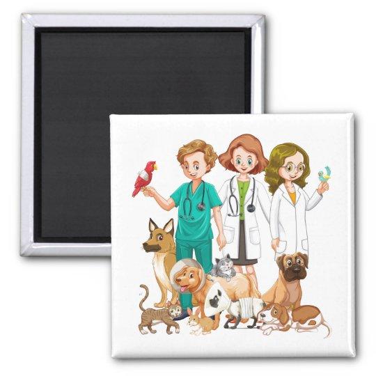 Veterinarian People Background Magnet