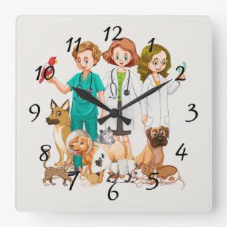Veterinarian People Background Square Wall Clock