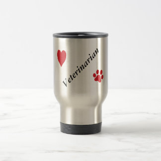 Veterinarian-Red Paw Print and Heart Travel Mug