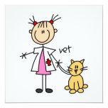 Veterinarian Stick Figure 5.25x5.25 Square Paper Invitation Card