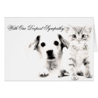 Veterinarian Sympathy Card Pup and Kitten