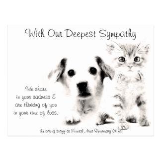 Veterinarian Sympathy Card Pup and Kitten Postcard