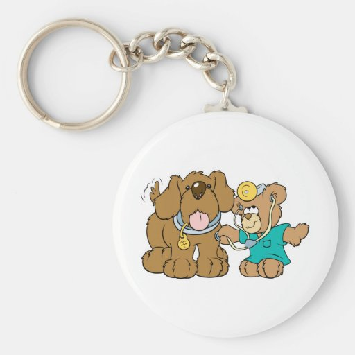 veterinarian vet teddy bear design keychains