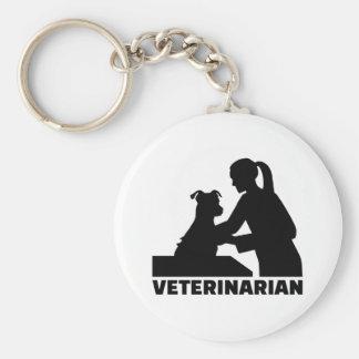 Veterinarian woman basic round button keychain
