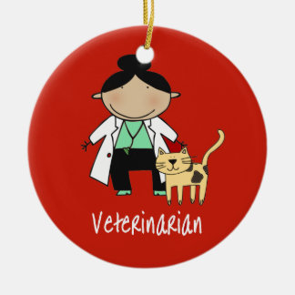 Veterinarian Woman with Cat Personalized Ceramic Ornament