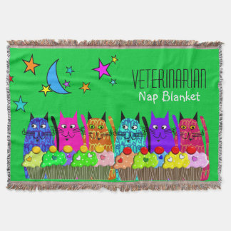 Veterinarian Woven Blanket Cats Green Throw Blanket