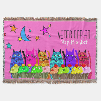 Veterinarian Woven Blanket Cats Pink Throw