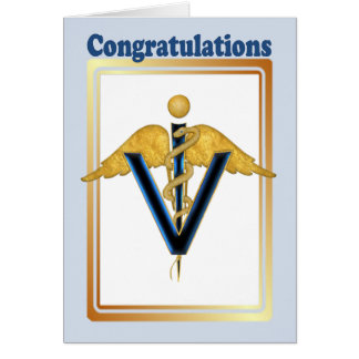 Veterinary Caduceus - Congradulations Card