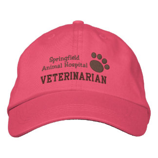Veterinary Clinic Paw Print Embroidered Hat